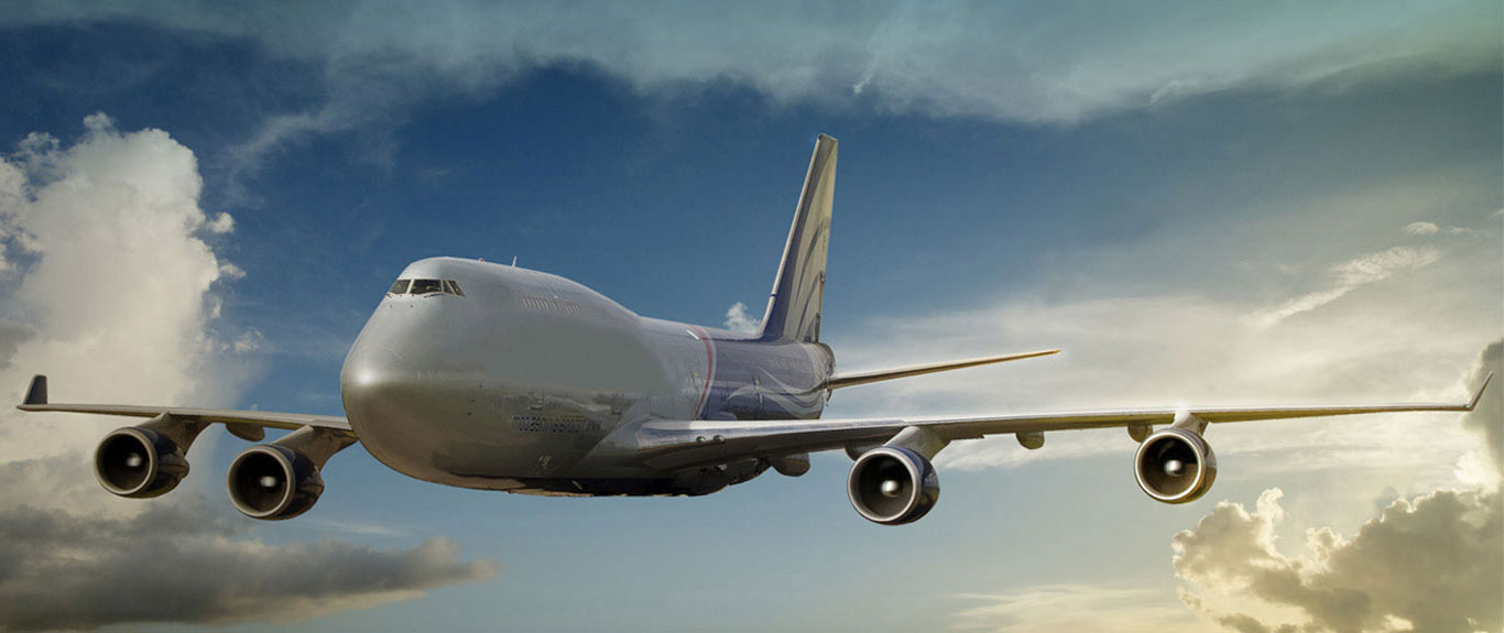 Mina Shipping white air freight in the sky